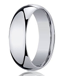 Designer 8 mm Domed Comfort-fit 14K White Gold Wedding Band - JB1024