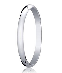 Designer 2 mm Traditional Domed Polished Finish 14K White Gold Wedding Band - JB1074