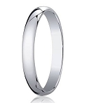 4mm Men's 14k White Gold Designer Wedding Band with Domed Profile