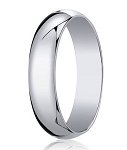 Designer 6 mm Traditional Domed Polished Finish 14K White Gold Wedding Band - JB1078