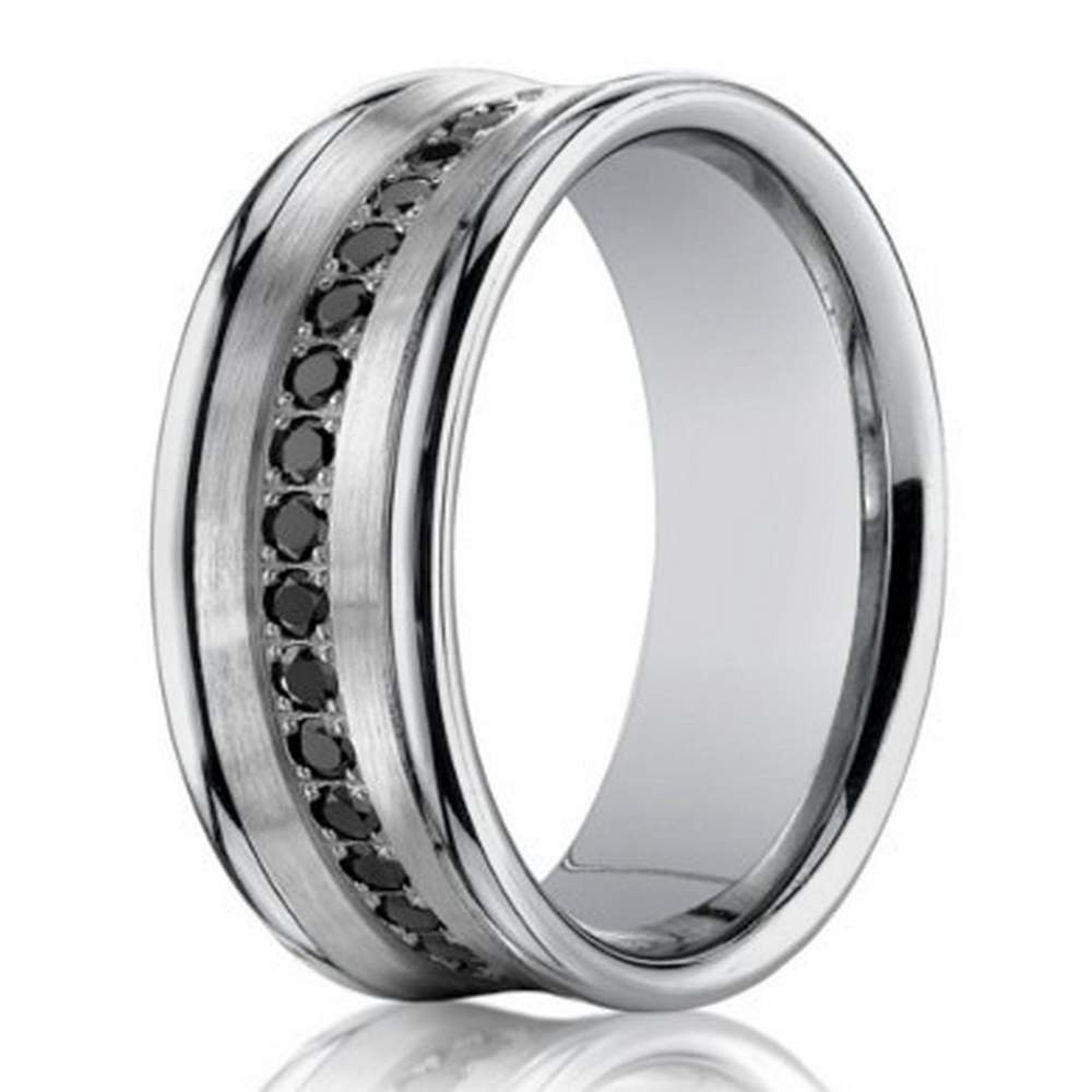 mens white gold wedding ring with 16 diamonds 75mm width