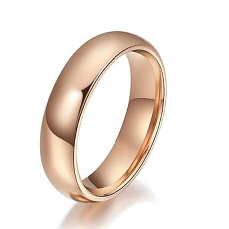 home mens wedding bands stainless steel wedding bands stainless steel rose gold polished finish wedding band - Stainless Steel Wedding Rings