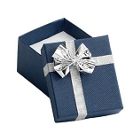 Blue Linen Ring Box with Silver Ribbon and Bow - JRB0101