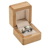 Natural Wood Ring Box with Suede Lining from the Amsterdam Collection - JRB0107