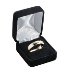 Black Velour Ring Box with White Satin Lining - JRB0109