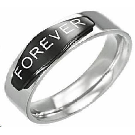 s stainless steel forever promise ring with black