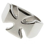 Polished Stainless Steel Iron Cross Ring - JSS0124