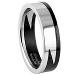 Men's Stainless Steel Puzzle Ring with Polished Finish and Black Accent | 7.5mm - JSS0150