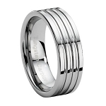 Tungsten Wedding Band with Three Grooves - JTG0002