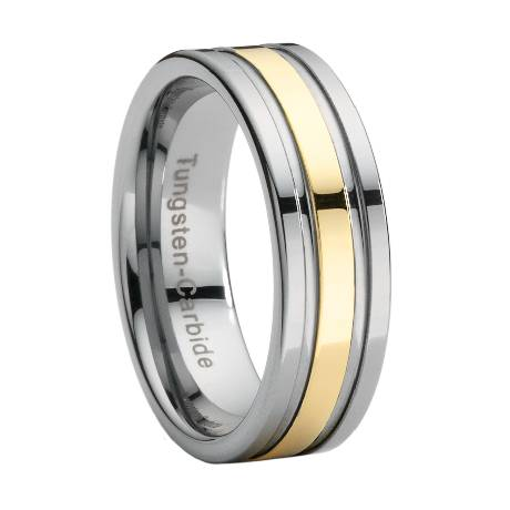 tungsten wedding band with gold stripe overlay jtg0014 - Tungsten Mens Wedding Ring