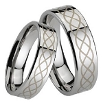 Polished Tungsten Ring with Lasered Scroll Design - JTG0022