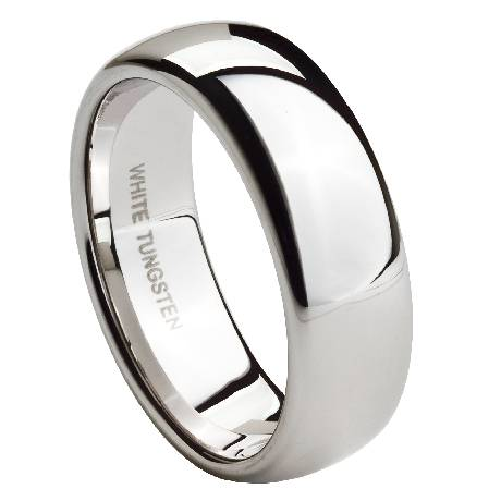 men 39 s white tungsten wedding band with polished finish 8mm jtg0061
