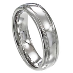 Men's White Tungsten Wedding Band with Satin Finish and Two Polished Grooves | 7mm - JTG0062
