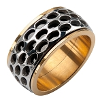 Men's Stainless Steel Gold IP Car Grille Spinner Polished Ring