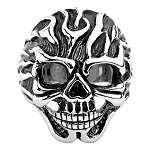 Stainless Steel Flames Faced Skull Ring
