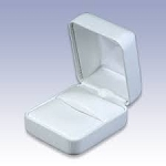 White Faux Leather Ring Box with White Satin Lining