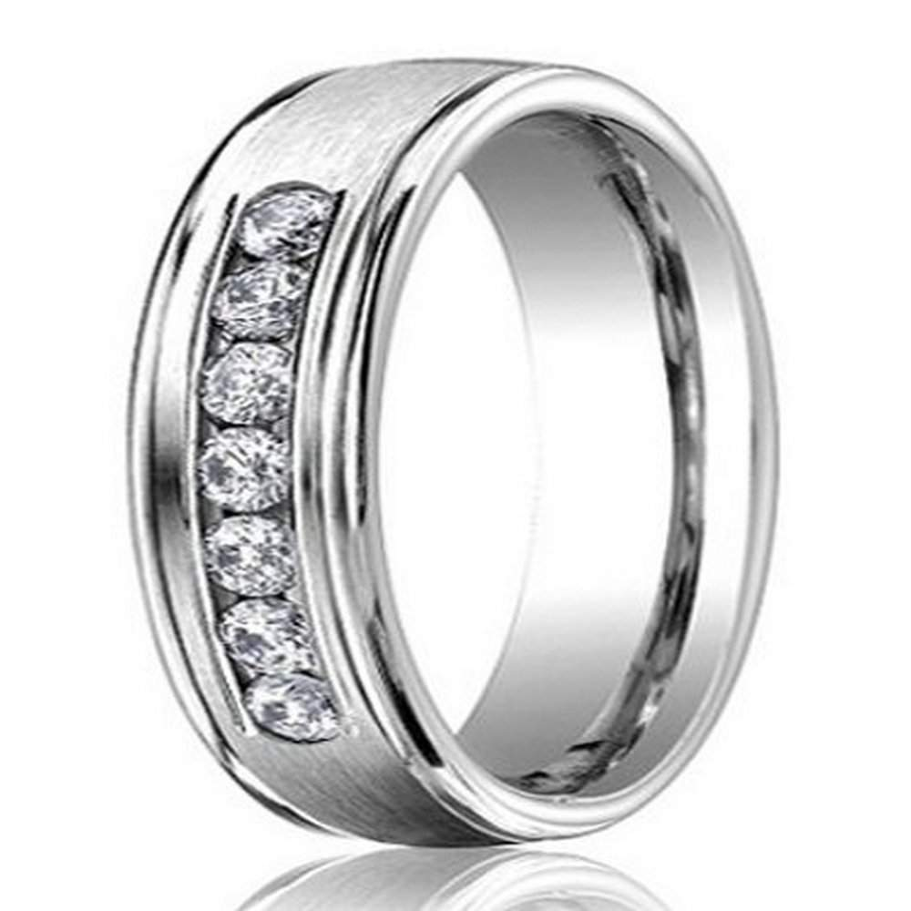 6mm Men's Palladium & Diamond Wedding Ring With Satin