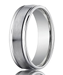 950 Platinum Men's Designer Wedding Ring with Polished Edges | 6mm
