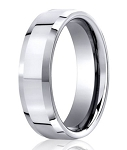 Designer 950 Platinum Polished Profile Men's Wedding Ring | 6mm
