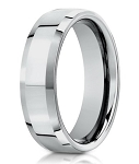 Beveled Edge Men's 18K White Gold Designer Wedding Ring | 6mm