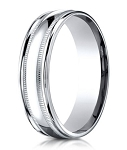 Designer 950 Platinum Milgrain Detail Men's Wedding Ring | 6mm
