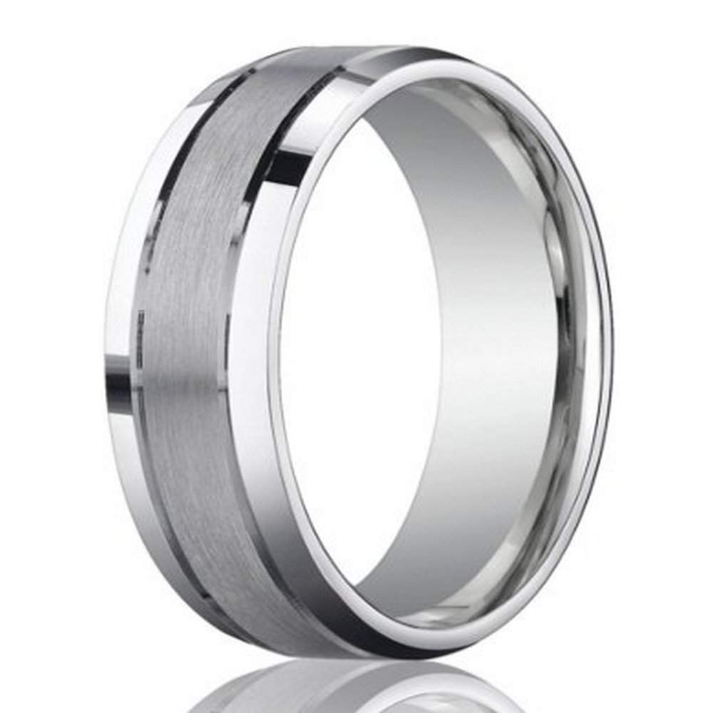 designer 950 platinum wedding band for with beveled