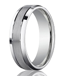 Designer 950 Platinum Men's Wedding Ring With Polished Edge | 6mm