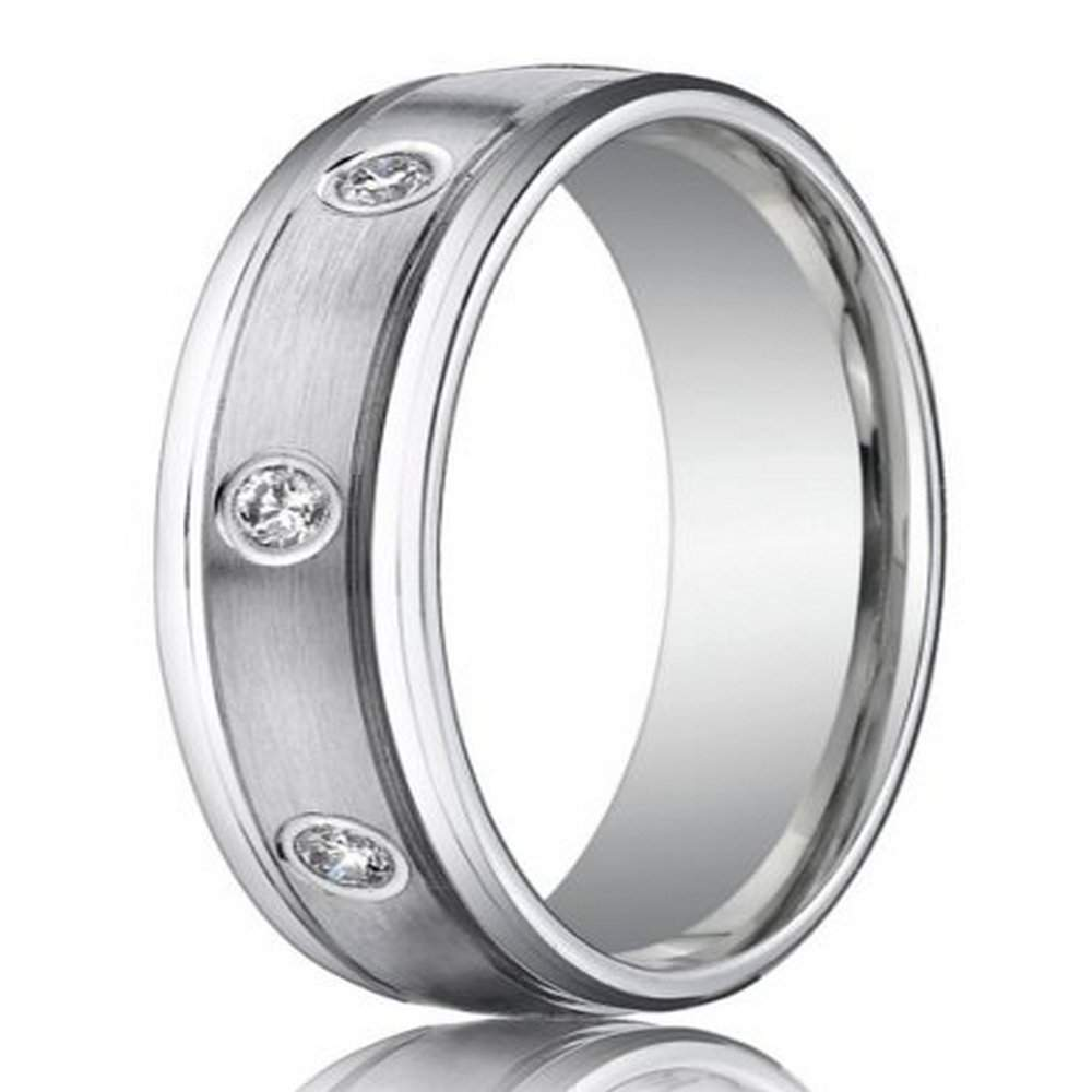 6mm Men S 950 Platinum Bezel Set Diamonds Wedding Band