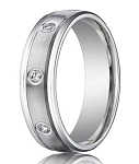 Designer 950 Platinum Men's Bezel Set Diamonds Wedding Band | 6mm