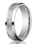Designer 950 Platinum Single Diamond Men's Wedding Ring | 6mm