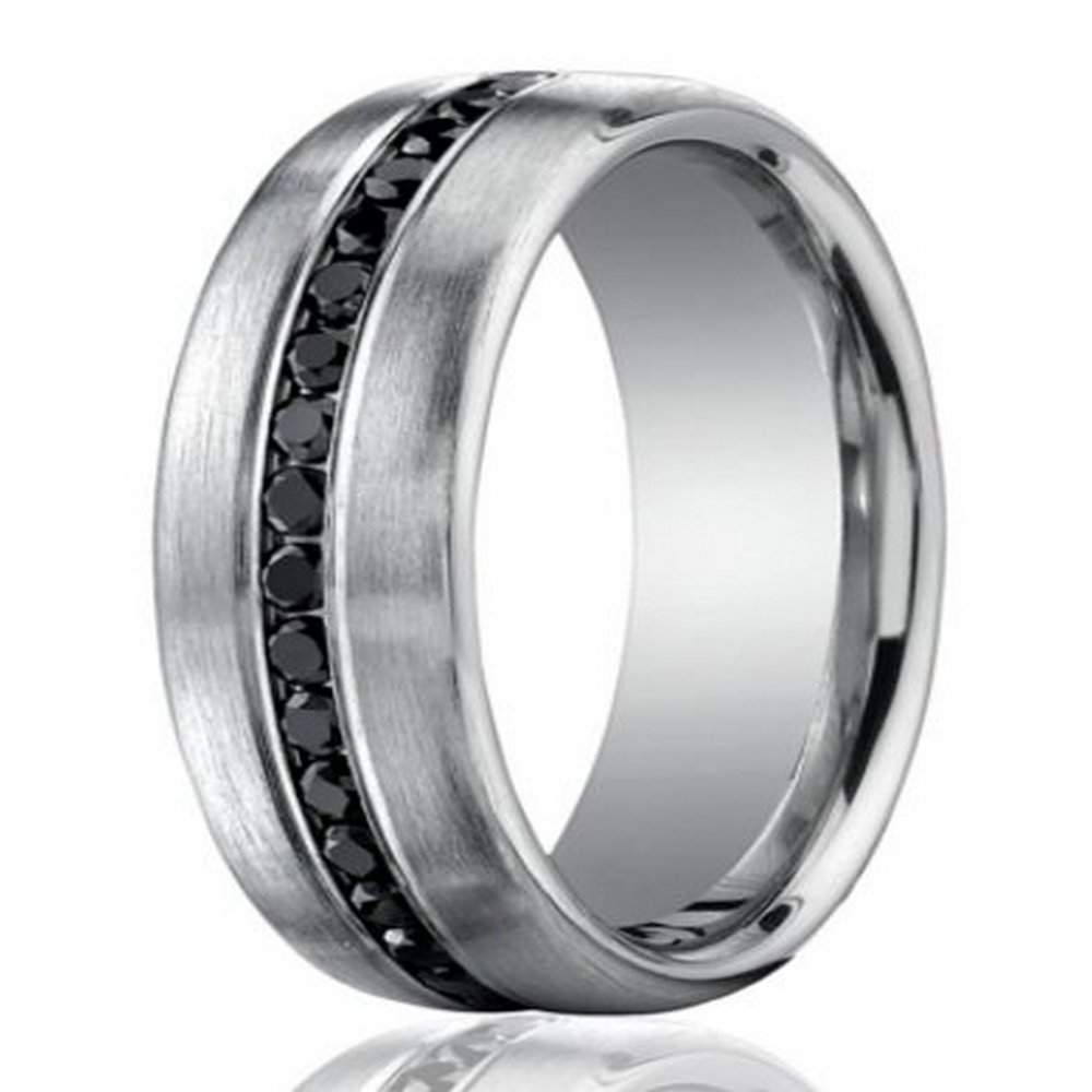 7 5mm 950 Platinum Black Diamond Men's Wedding Ring