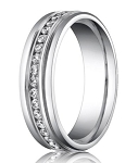 Designer 950 Platinum Diamond Eternity Men's Wedding Ring | 6mm