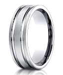 Designer Palladium Men's Wedding Ring With Polished Grooves | 8mm