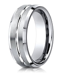 Designer Palladium Men's Wedding Ring With Center Cut | 6mm