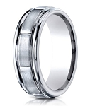 Designer Palladium Men's Wedding Ring With Polished Grooves | 6mm