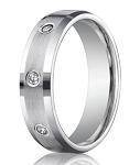Benchmark Palladium Wedding Ring With Bezel Set Diamonds | 6mm