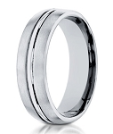 Men's 10K White Gold Wedding Band With Polished Center | 6mm
