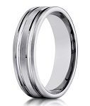 Designer 10K White Gold Wedding Band With Polished Cuts | 6mm