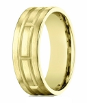 Men's 10K Yellow Gold Wedding Band With Geometric Design | 8mm