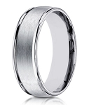 Designer 10K White Gold Wedding Ring With Polished Edges | 8mm