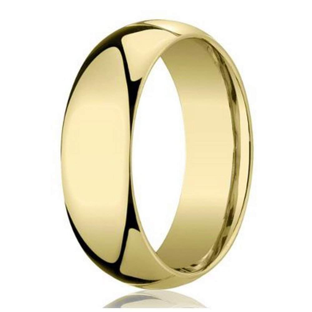 Men 39 S 5mm Domed Comfort Fit 10k Yellow Gold Wedding Band