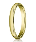 Designer 3 mm Domed Milgrain Polished Finish with Comfort-fit 14K Yellow Gold Wedding Band - JB1059