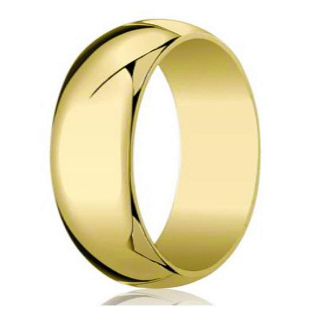 14k Yellow Gold High Polished 2mm Traditional Milgrain: Designer Men's Wedding Band In 10K Yellow Gold, Polished, 8mm