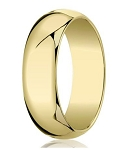 Designer 7 mm Traditional Domed Polished Finish 14K Yellow Gold Wedding Band - JB1073