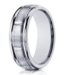 Designer 6 mm Engraved & Satin Finish 14K White Gold Wedding Band - JB1138