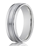 Designer 4 mm Brushed & Spun Satin Finish 14K White Gold Wedding Band - JB1150