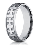 Designer 6 mm Carved Crosses & Polished & Brushed Finish 14K White Gold Wedding Band - JB1156