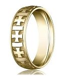 Designer 6 mm Carved Crosses & Polished & Brushed Finish 14K Yellow Gold Wedding Band - JB1157