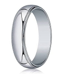 18K White Gold Designer Wedding Ring for Men, Beaded Edge | 4mm