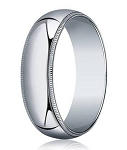 Men's 18K White Gold Designer Wedding Ring With Beaded Edge | 6mm